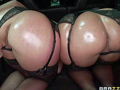 Jada Stevens and Sheena Shaw are tow ladies with bubble butts. Chicks in black stockings bend over and then get their pussies and assholes double fingered from behind. Then they suck hard dick like mad.