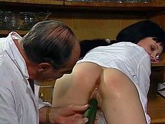 Long and black haired torrid lassie with big ass posed doggy style on table in the cabinet of chief doctor. He offered her to taste some cucumber. She refused. Afterwards she got it deep inside her thirsting vag from behind. Look at this whorish nurse in The Classic Porn sex video!