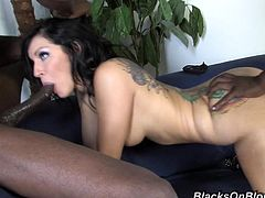 Tori Lux is a nasty brunette slut getting her wet cunt and tight cornhole destroyed at the same time by two humongous black cocks in this hot scene!