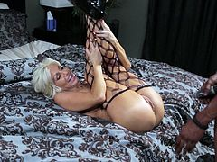 Share this with your friends! A mature blonde, with big lover pillows wearing fishnet stockings, gets her pussy fucked doggystyle.