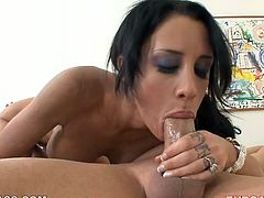This dark-haired enchantress is a natural born cock sucker and she is here to prove it. She sucks this dude's cock with unbridled passion. Damn, her cock sucking skills are above all praise!