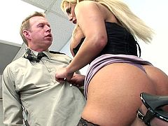 This busty blonde is perfect for her boss to slam his stiff dick in