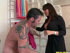 Be part of this reality clip where a brunette cougar, with giant knockers and a great back door, gets plowed hard in different positions.