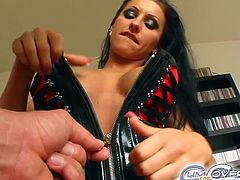This amazing curly babe in leather and high heels is blowing few cocks. These guys gave her their big stiff rods to suck it and cum on her face.