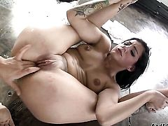 Lea Lexis and Tori Lux play with each others nipples and twat in girl-on-girl action