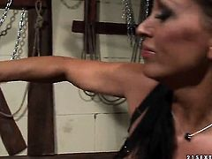 Brunette Bijou with big jugs offers her snatch to lesbian Mandy Bright