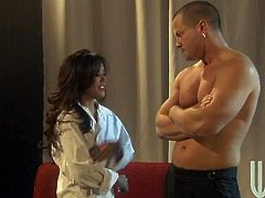 Sexy Asian chick Kaylani Lei gives a blowjob to some guy and lets him knead her tits. Then they bang doggy style and the cutie moans sweetly with pleasure.