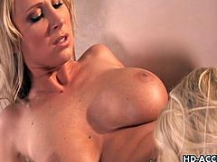 Busty lesbian sluts Devon Lee and Jacey Andrews. There are plenty of big tits to play with and they share each other shaved pussies. They lick each other for extreme woman to woman satisfaction.