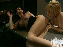 That's a hell of lesbian porn action on your screen! Two delightful chicks Jeanna Fine and Jenna Jameson will tickle each other's snatches.