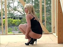 Sexy Alison Angel showed up at a construction site and she was so turned on she shed her panties and teased her pussy in public.