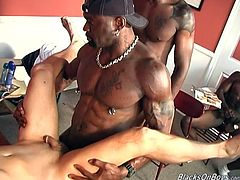 Be part of this clip where you'll see a gay interracial foursome with three black guys and a white dude. This last guy surely knows how to get fucked!