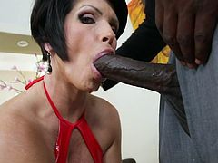 Black cock suits this brunette milf
