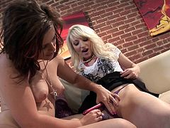 Make sure you have a look at this lesbian scene where these horny babes please each other with their sex toys as you hear them moan.