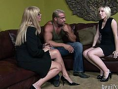 filthy mother and daughter with blond hair take their clothes off with big hunk. Mother teaches her daughter how to suck the toolbox. Watch in Fame Digital xxx clip.