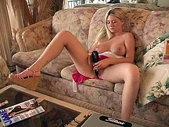 Solo model Alison Angel enjoys her hair brush for masturbation. While playing with her big natural tits, sitting on the couch in a mini skirt, legs spread wide.