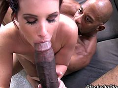 Tweety Valentine is the sexiest redhead you will ever see! Watch her getting pounded by two humongous black cocks before taking their warm cum in her slutty face!