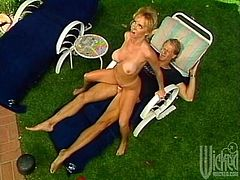 Horny Crystal Wilder relaxes in the backyard with her man. They breathe fresh air and then has sex. Crystal gives head to the guy and then gets fucked in a cowgirl position.