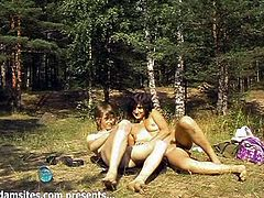 Dark-haired slut Mary and her BF are getting naughty in the forest. They fondle each other and then fuck doggy style and in the reverse cowgirl position.