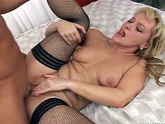 Check out this hardcore scene where a mature blonde gets fucked silly by this guy while wearing stockings as she ends up with a mouthful of semen.