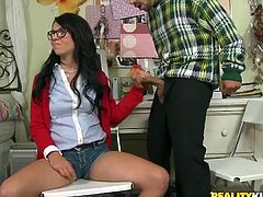 Stunning Madelyn Monroe does her homework with her classmate. She is not really interested in studying. So, she gives a handjob and a blowjob to the guy. After that Madelyn gets banged in her tight pussy.