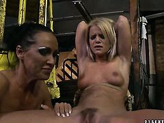 Blonde Mandy Bright with huge tits spends her sexual energy with lesbian Bianka Lovely