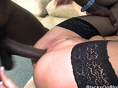 Get a hard dick watching this brunette cougar, with immense tits wearing nylon stockings, while she gets her pussy destroyed in the missionary position.