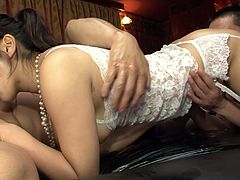 This lovely Japanese gal needs at least two hard cocks to satisfy her lust. She gets her wet pussy filled with pretty thick cock but she has one more dick to handle in this hot threesome sex video.