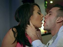 Have a look at this hardcore scene where the busty Lucy Devine ends up with a messy mouthful of warm cum.