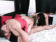 Johnny Castle is horny and cant wait any more to fuck Exotic Audrey Bitoni with his sturdy sausage