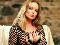 Silvia Saint is ready to make your day with this stunning solo scene. Watch this gorgeous blonde playing with her pink pussy after pulling up her fishnet dress.