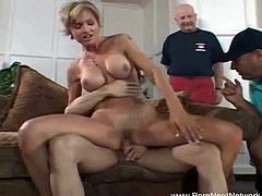 This stunning wifey is ready for cuckold humiliation 24/7. Young dude licks her asshole and sticks his schlong deep into her cunt then shoots a load in her mouth.