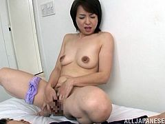Nasty Kumi Kanzaki wants sex, so she takes off her clothes and starts to finger her vagina in front of some shy guy. Then Kumi comes up to him and starts to suck his dick.