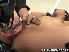 Checkout this sexy hairy Japanese babe gets her legs stretched open on the chair.See how this sexy hairy patient babe gets that hairy pussy toyed deeply and penetrated hard.