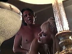 A lucky, older dude has the enormous pleasure of getting a tight lipped blowjob and deep thrusting, snatch fuck from a big tits blonde with amazing sex talents.Watch this lucky old man getting his old cock in young hot horny pussy.