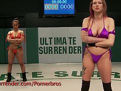 Amazing hold is put on helpless bitch to defend her pussy or her pride.Head scissors, body scissors and holds only the Dragon Lilly can perform are all used on Isis.Dragon fingers Isis and has her moaning on the mat early and often. Isis is just overpowered and outclassed at almost every turn.