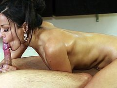 Watch this beauty turning massage into a wild blowjob porn show