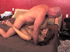 Sexy babe gets fucked hard in the bed by big cock