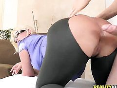 Erik Everhard gets pleasure from fucking Blonde Julie Cash with giant tits and hairless beaver