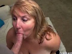 Ben has a chance encounter with his girlfriend's mother and he gets treated to an extra special blowjob and handjob that ends with him blasting his seed all over her massive round titties.