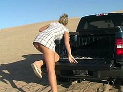 Look at this deliciously hot chick Alison Angel. She drives deep in the desert and then starts showing her priceless beaver!