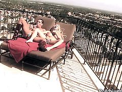 Lovely whore Holly Halston with big knockers and Max Mikita make lesbian love
