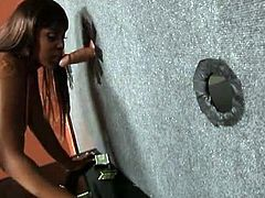 Glory Hole Initiations brings you a hell of a free porn video where you can see how the hot and busty ebony slut Maserati XXX gets fucked through the glory hole by a white cock.