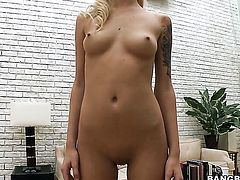Gorgeous sex kitten Emma Mae does lewd things and then gets her lovely face painted with cock cream