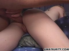This blonde girlfriend is naughty as hell ! Anal threesome, DP, blowjob and huge facial cumshot ! 100% homemade...