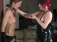 Mistress Irony pushes a large dildo deep inside Ava and commands that she fucks it as Mistress holds it in place. When she realizes how much she's enjoying it she decides to make her cum.