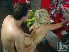 Fireman Gives the Hose to a Cougar in High Heels