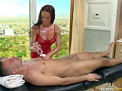 Sweet babe Rahyndee James in barley there revealing short red dress is a new masseuse. Keiran Lee is her dirty boss who gives her instruction. He gets nude and asks her to give him pleasure. She puts her hands on his dick and then gets naked too.