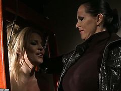 Brunette Salome and Mandy Bright do lewd things in lesbian action