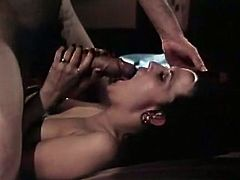 Amazingly hot black haired diva with lean body gets her delicious hairy snatch in mish pose. Then babe gives blowjob sucking that big hairy dick with joy.