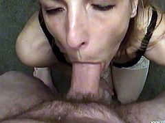 Make sure you get a load of this great clip where the horny Marie Madison ends up with a mouthful of semen after sucking on this guy's hard cock.